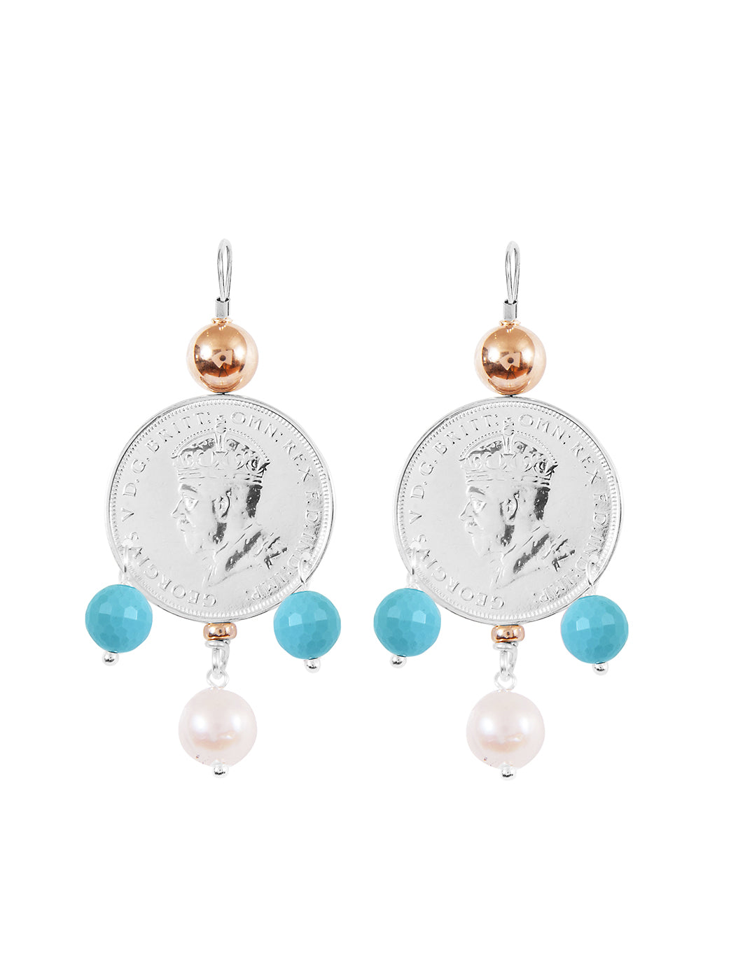 Fiorina Jewellery Monster Mid-Coin 3 Drop Earrings Aquamarine