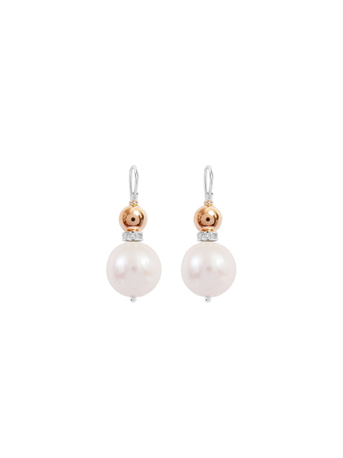 Fiorina Jewellery Double Ball Earrings Pearl & Gold
