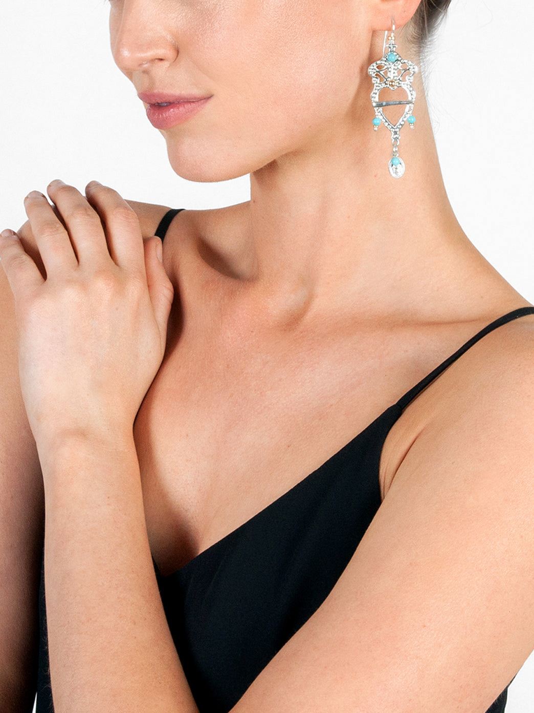 Fiorina Jewellery Heartlore Earrings Turquoise Model