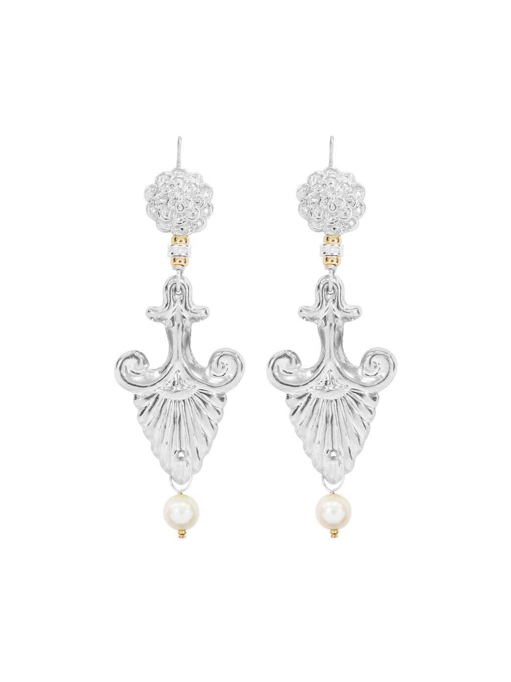 Fiorina Jewellery Silver Noto earrings White Pearl Highlights