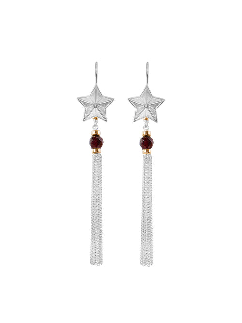 Fiorina Jewellery Stellina Tassel Earrings Garnet