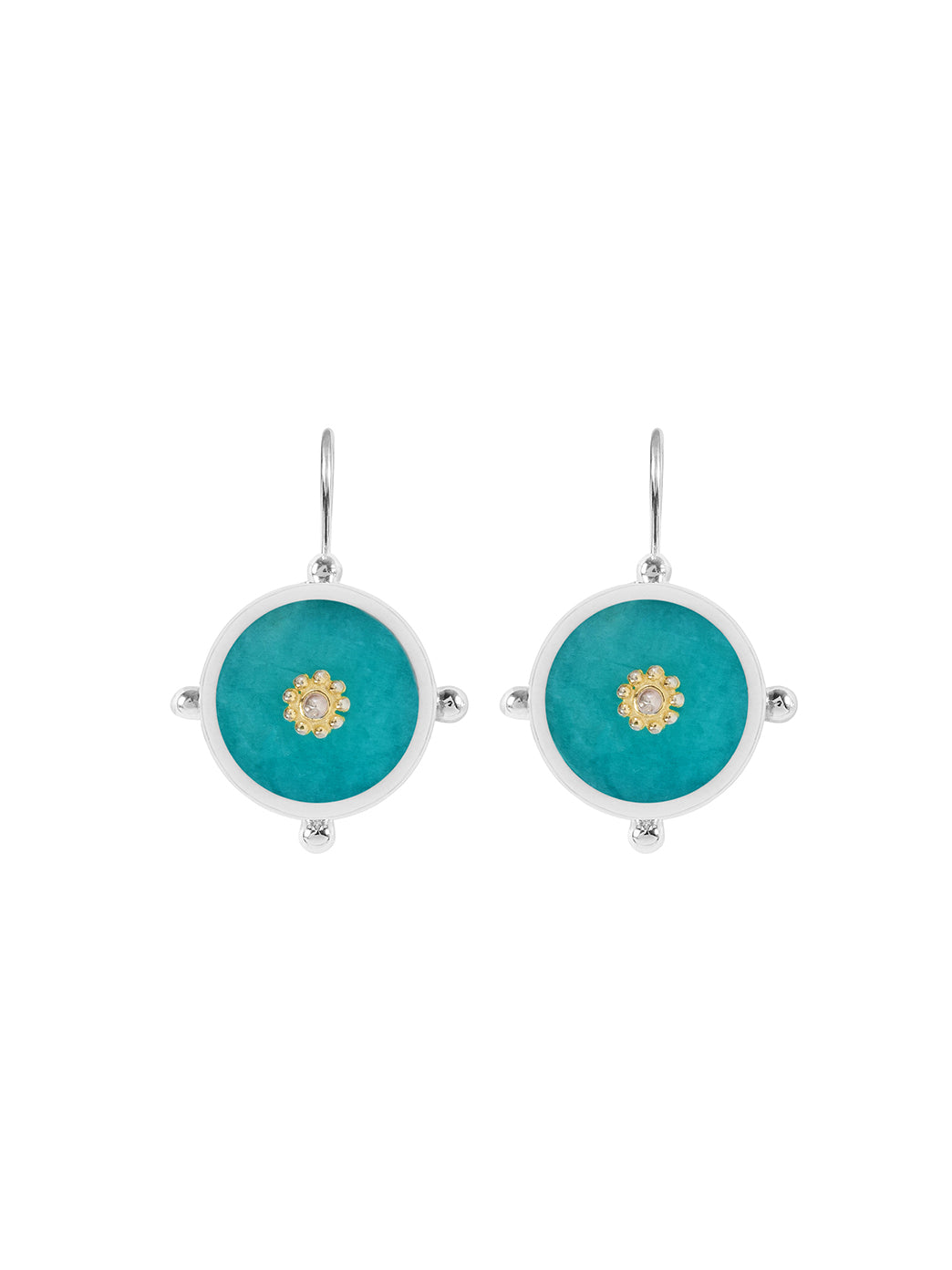 Fiorina Jewellery Button Earrings Amazonite