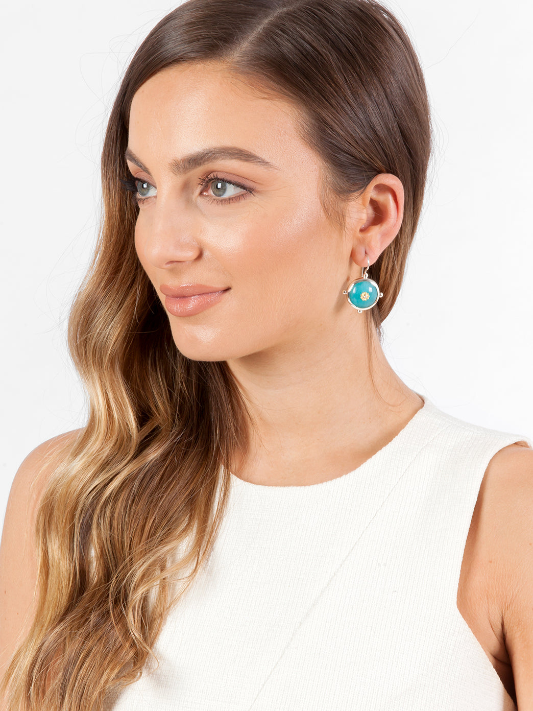 Fiorina Jewellery Button Earrings Amazonite Model