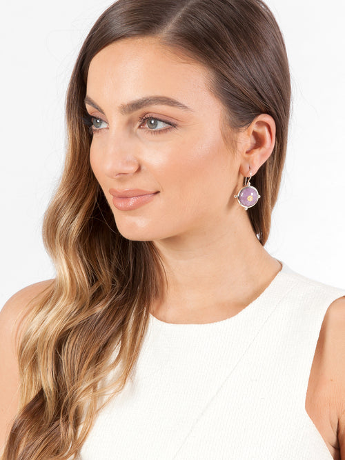 Fiorina Jewellery Button Earrings Kunzite Model