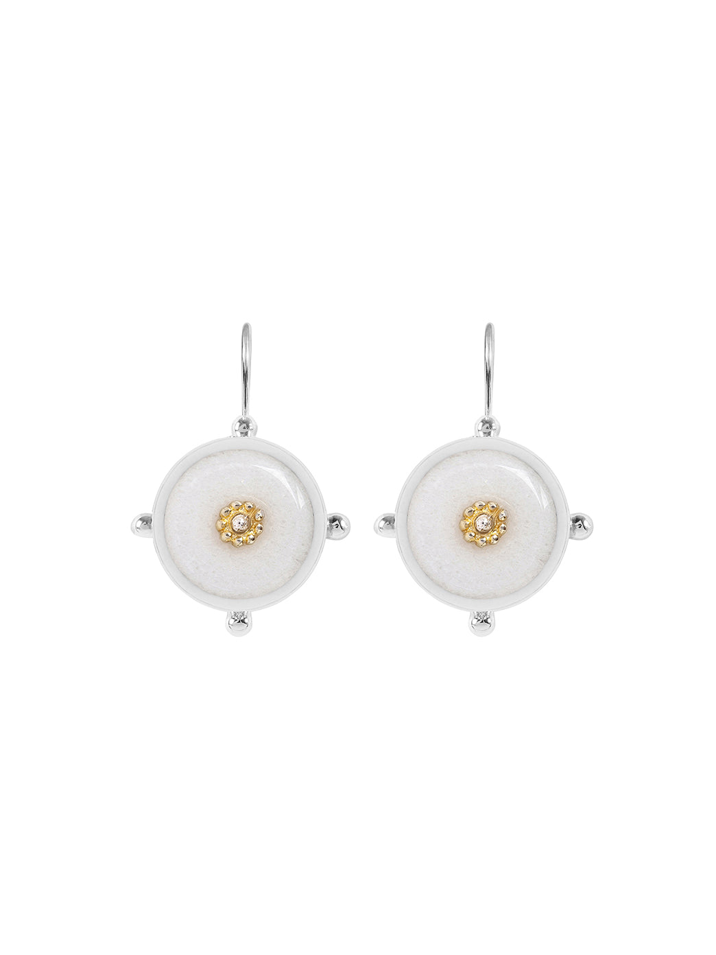 Fiorina Jewellery Button Earrings White Quartzite