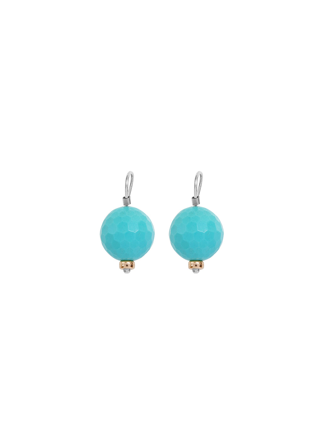 Fiorina Jewellery Ball Earrings Turquoise Gold Highlights