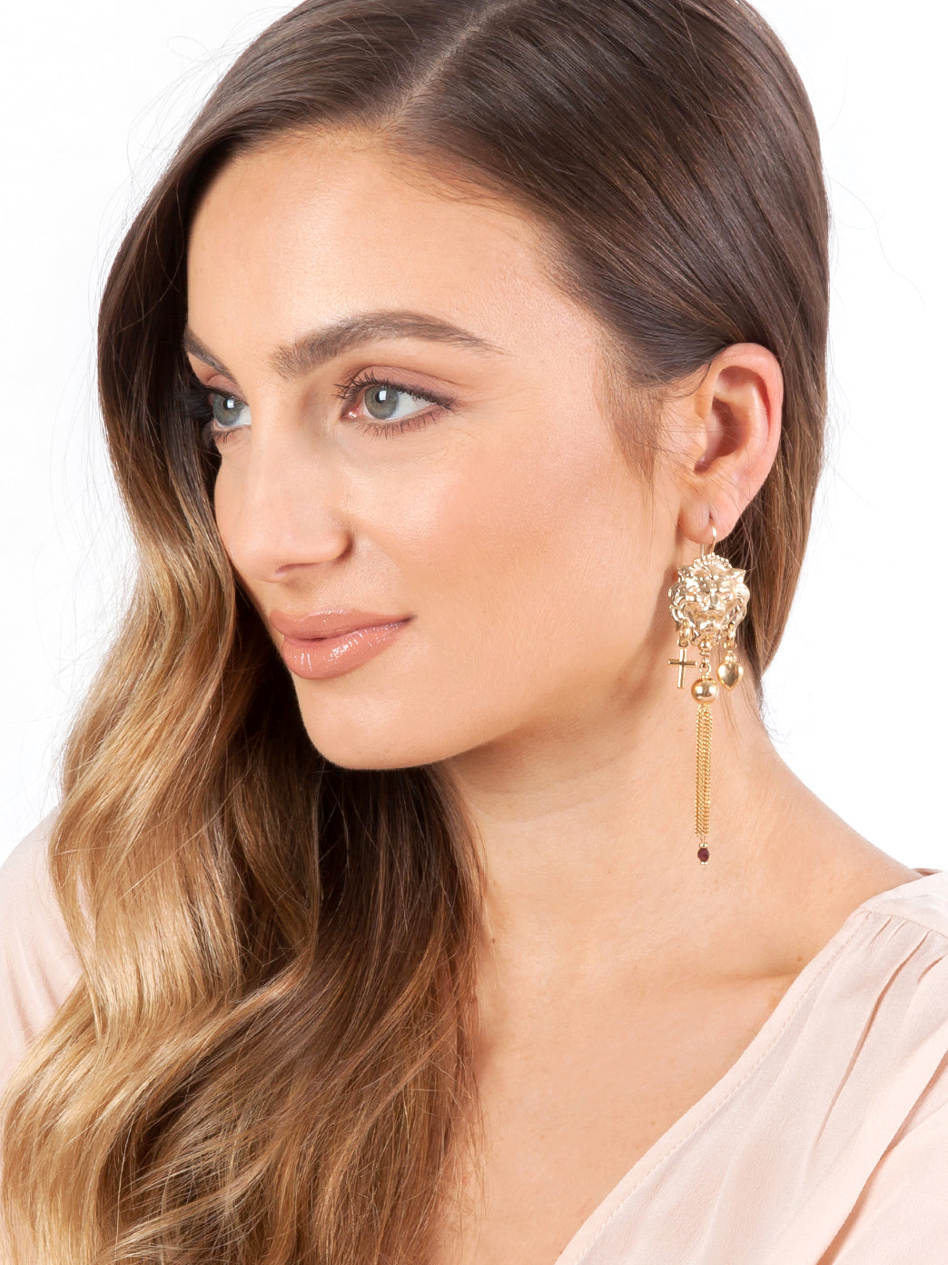 Fiorina Jewellery Gold Carita Tassel Earrings Model