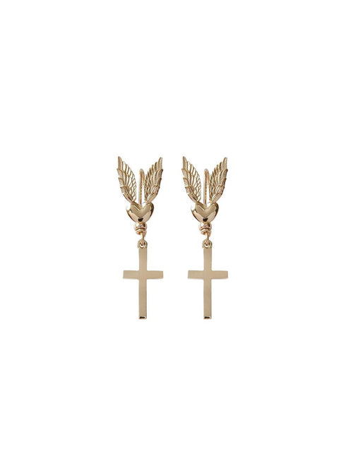 Fiorina Jewellery Gold Messenger Earrings Cross