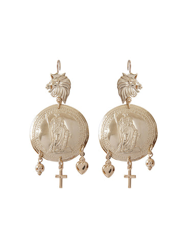 Gold Double Coin Cross Earrings