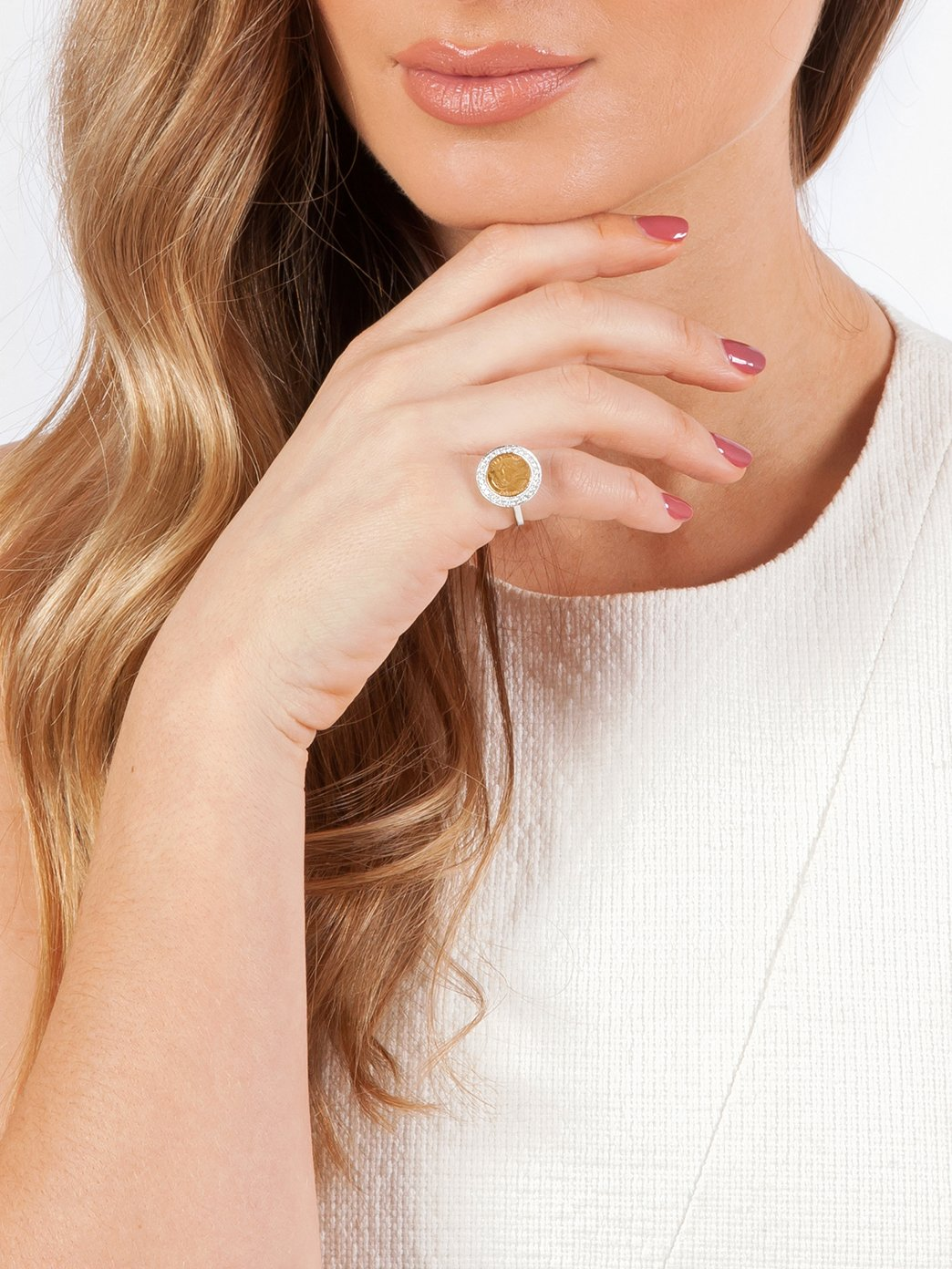 Fiorina Jewellery Luxe Set Gold Button Ring