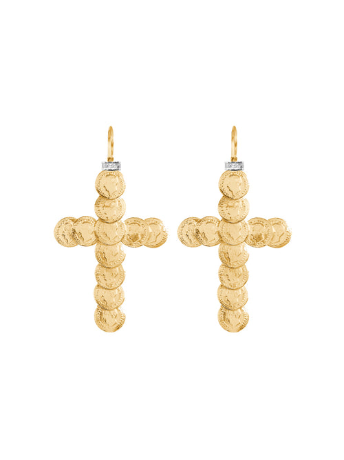 Fiorina Jewellery St Liberus Gold Cross Earrings