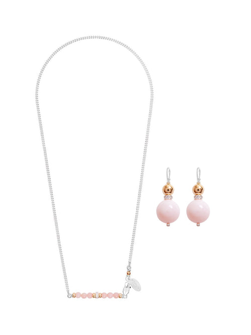 Fiorina Jewellery Romantic Set Romance Necklace and Double Ball Earrings Pink Opal