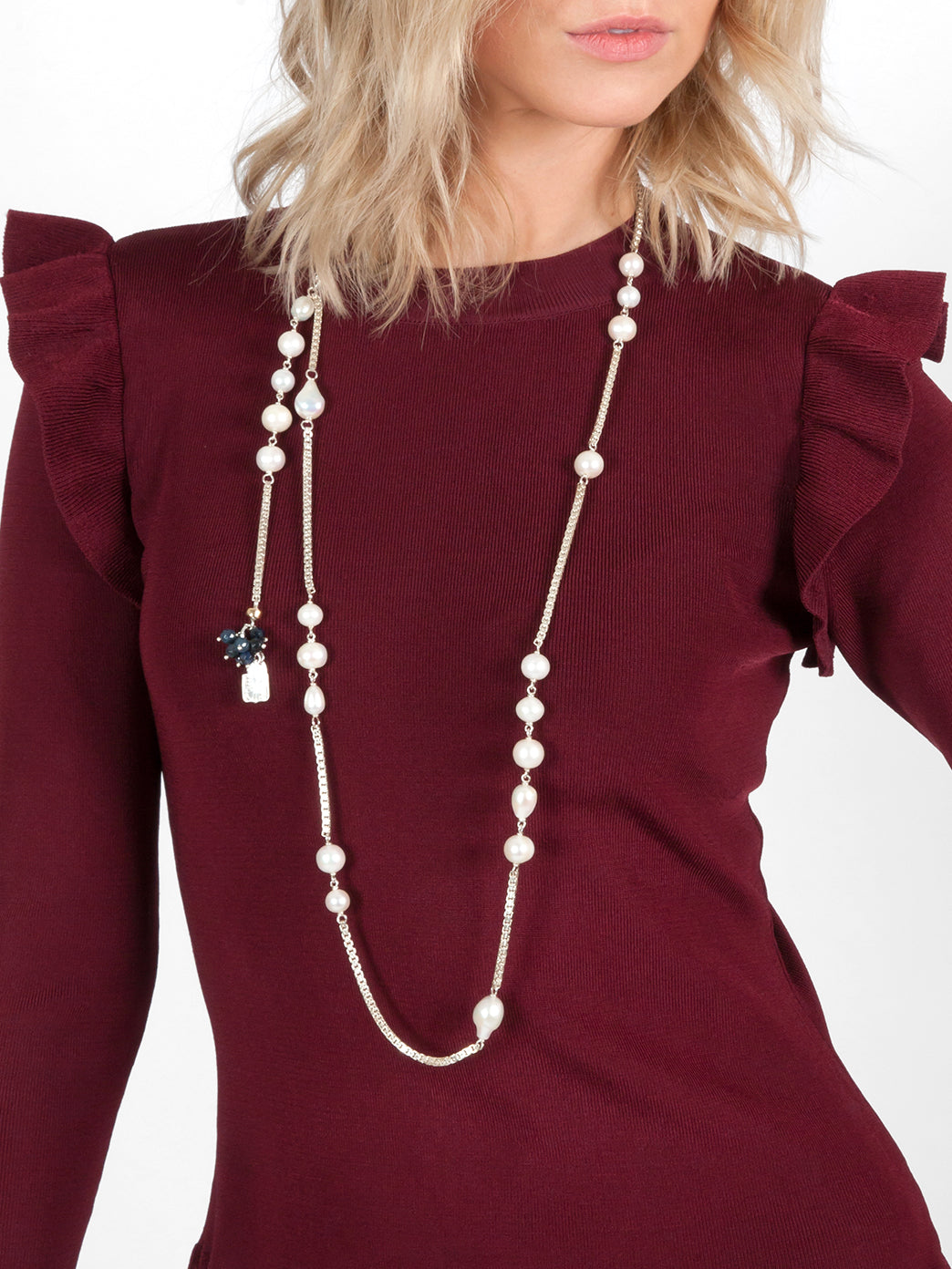 Fiorina Jewellery Birthday Necklace Pearl Model Front