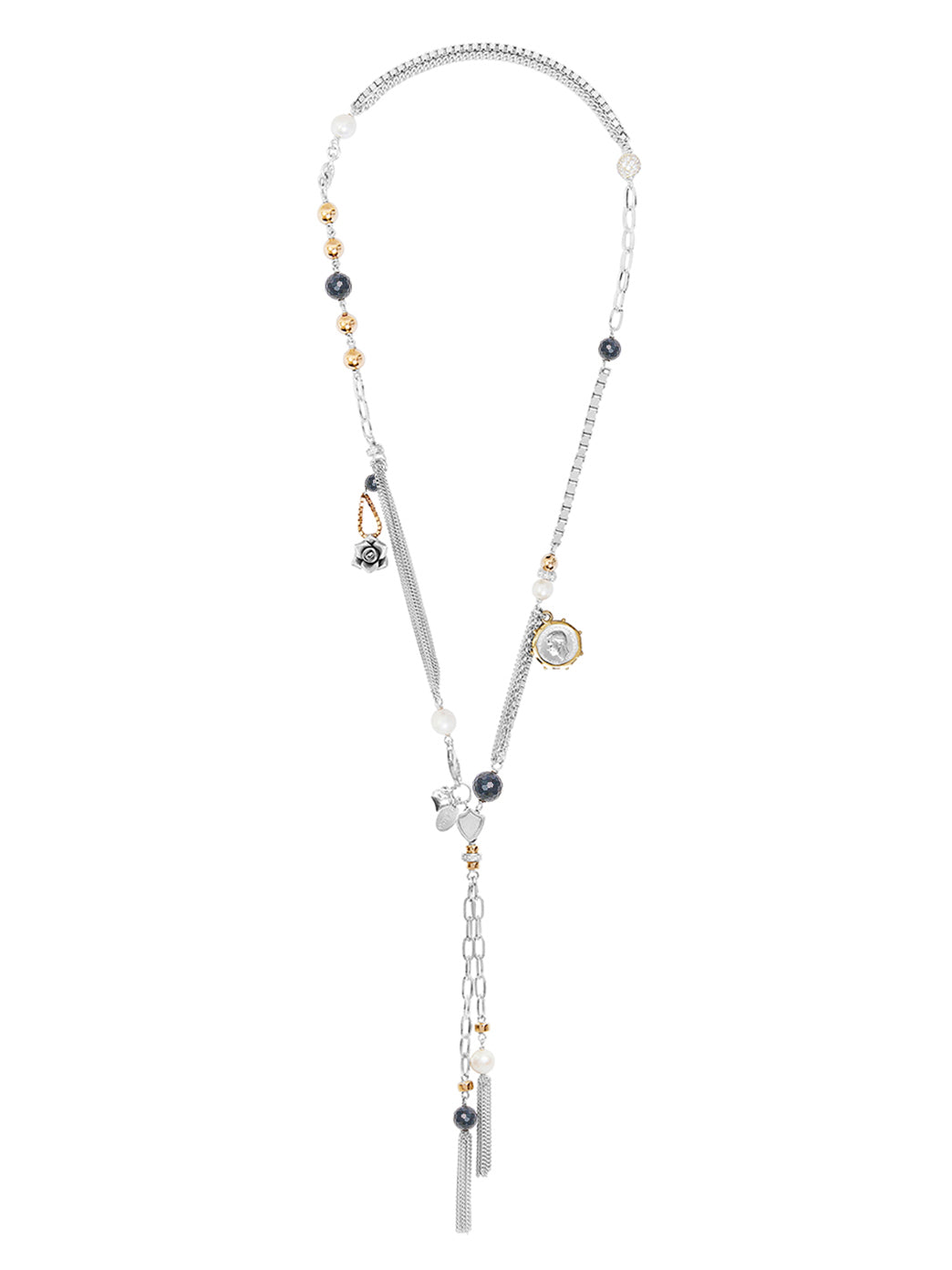 Fiorina Jewellery Monster Double Tassel Necklace Navy