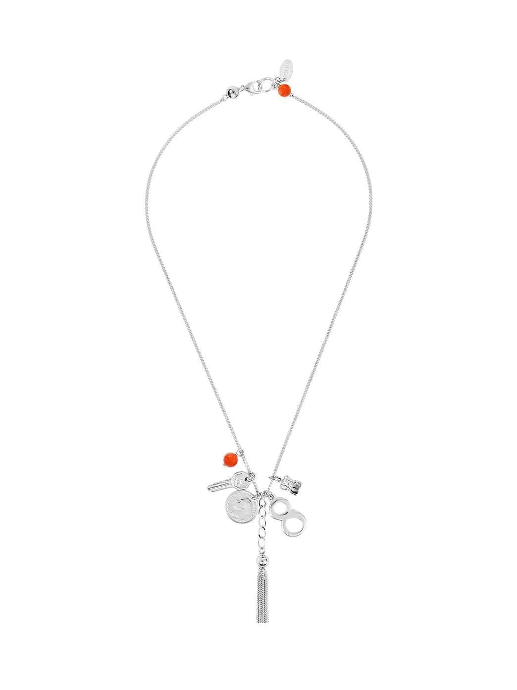 Fiorina Jewellery Simple Charm Necklace Coral