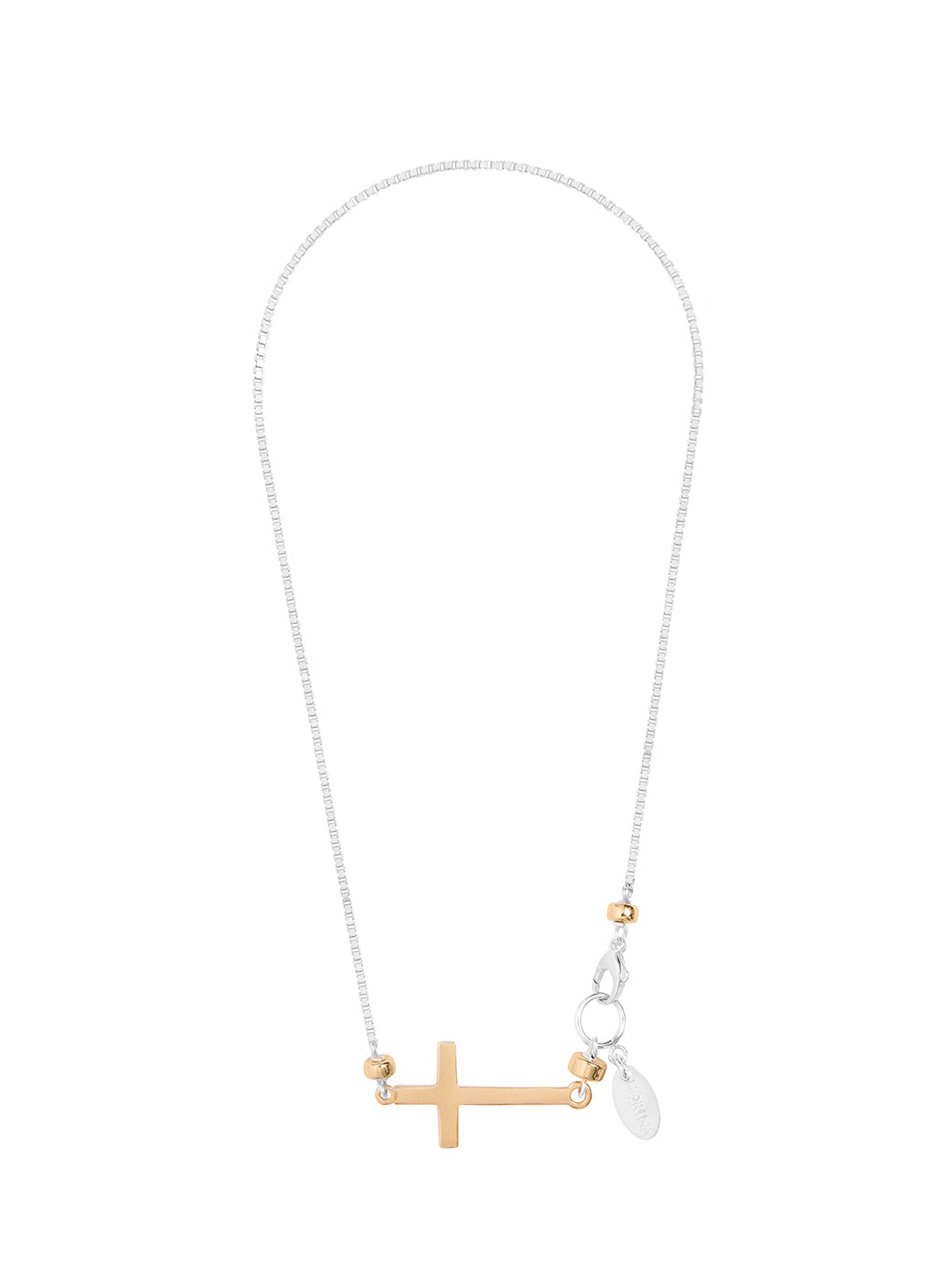 Fiorina Jewellery Gold and Silver Side Cross Necklace
