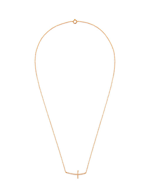 Fiorina Jewellery Diamond Side Cross Yellow Gold Necklace