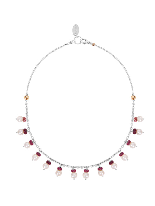 Fiorina Jewellery Leda Pearl Necklace Garnet