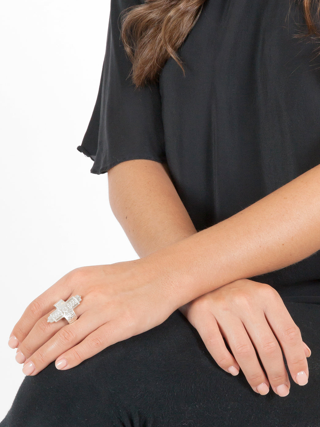 Fiorina Jewellery Coin Cross Ring Large Model