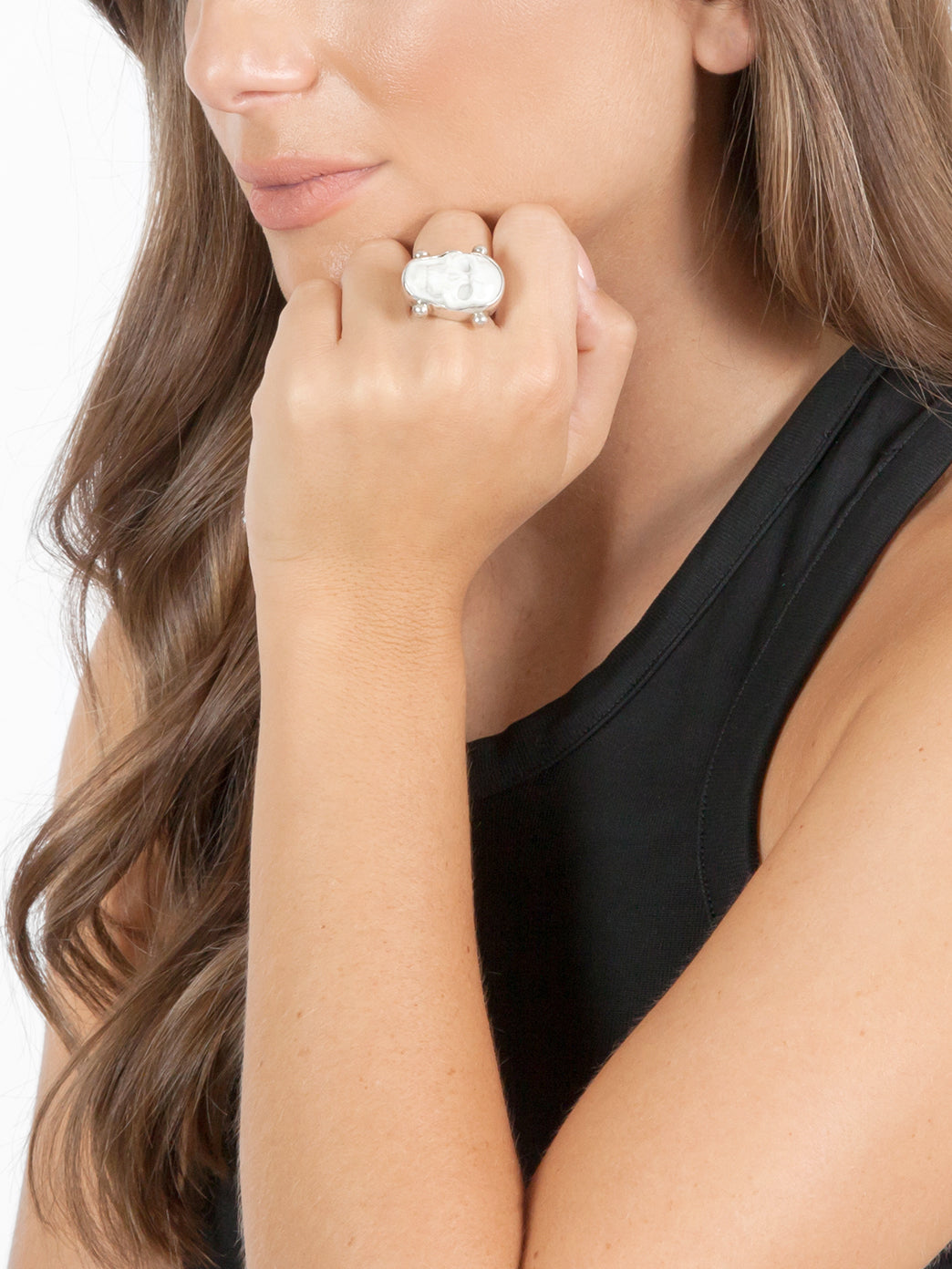 Fiorina Jewellery White Skull Ring Model