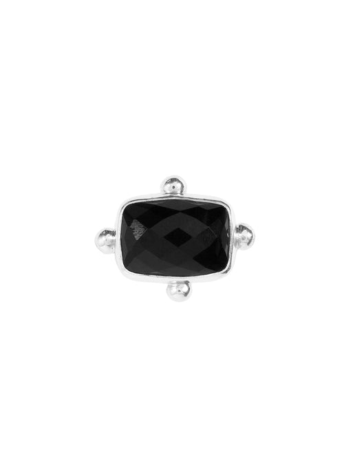 Fiorina Jewellery Rectangle Fishband Ring Black Faceted