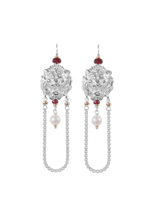 Fiorina Jewellery Trevi Chain Earrings Garnet