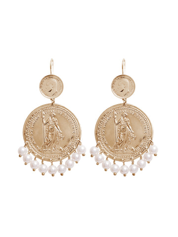 Gold Large Shield Earrings