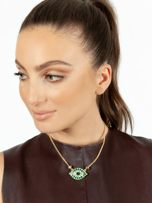 Fiorina Jewellery Gold Oracle Eye Necklace Emerald Model