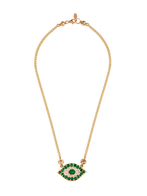 Fiorina Jewellery Gold Oracle Eye Necklace Emerald