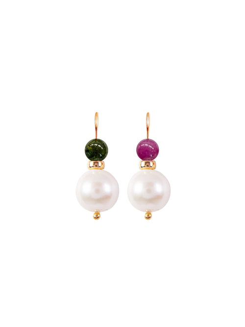 Fiorina Jewellery Gold Pearl Elite Double Ball Earrings