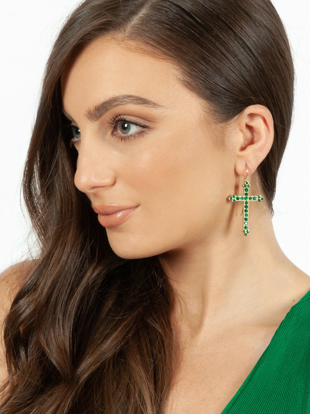 Fiorina Jewellery Gold Victoria Cross Emerald Earrings Model