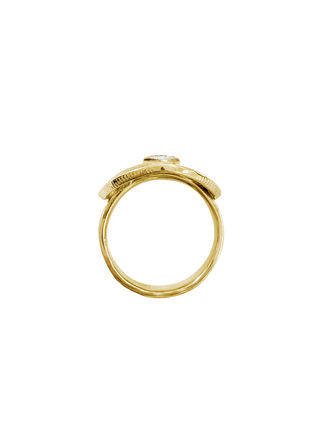 Fiorina Jewellery Gold PNG Bent Coin Ring Side View