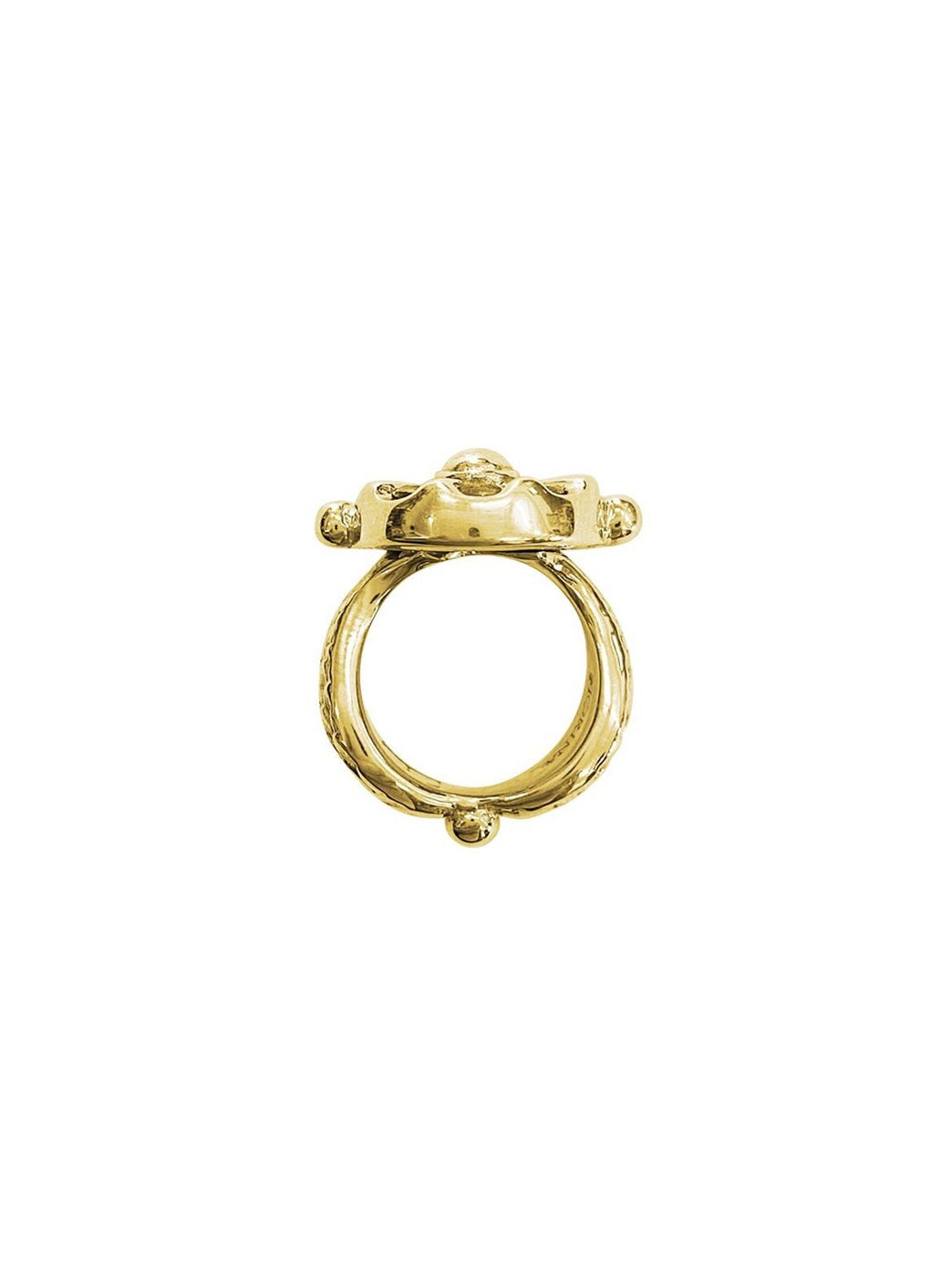 Fiorina Jewellery Gold Chakra Wheel Ring Side View