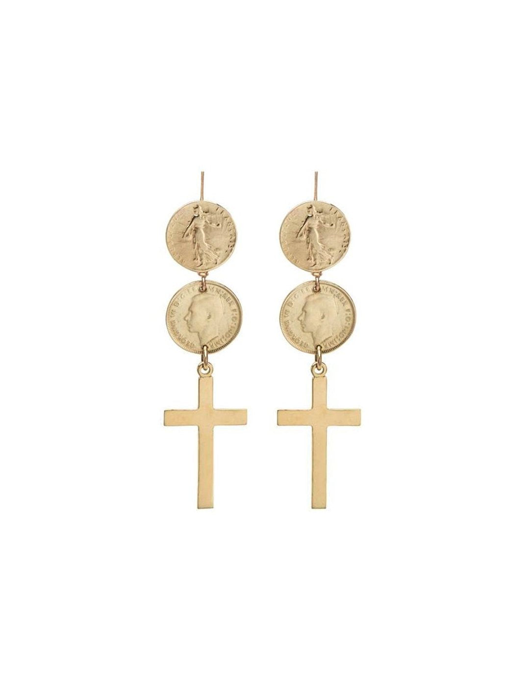 Fiorina Jewellery Gold Double Coin Cross Earrings