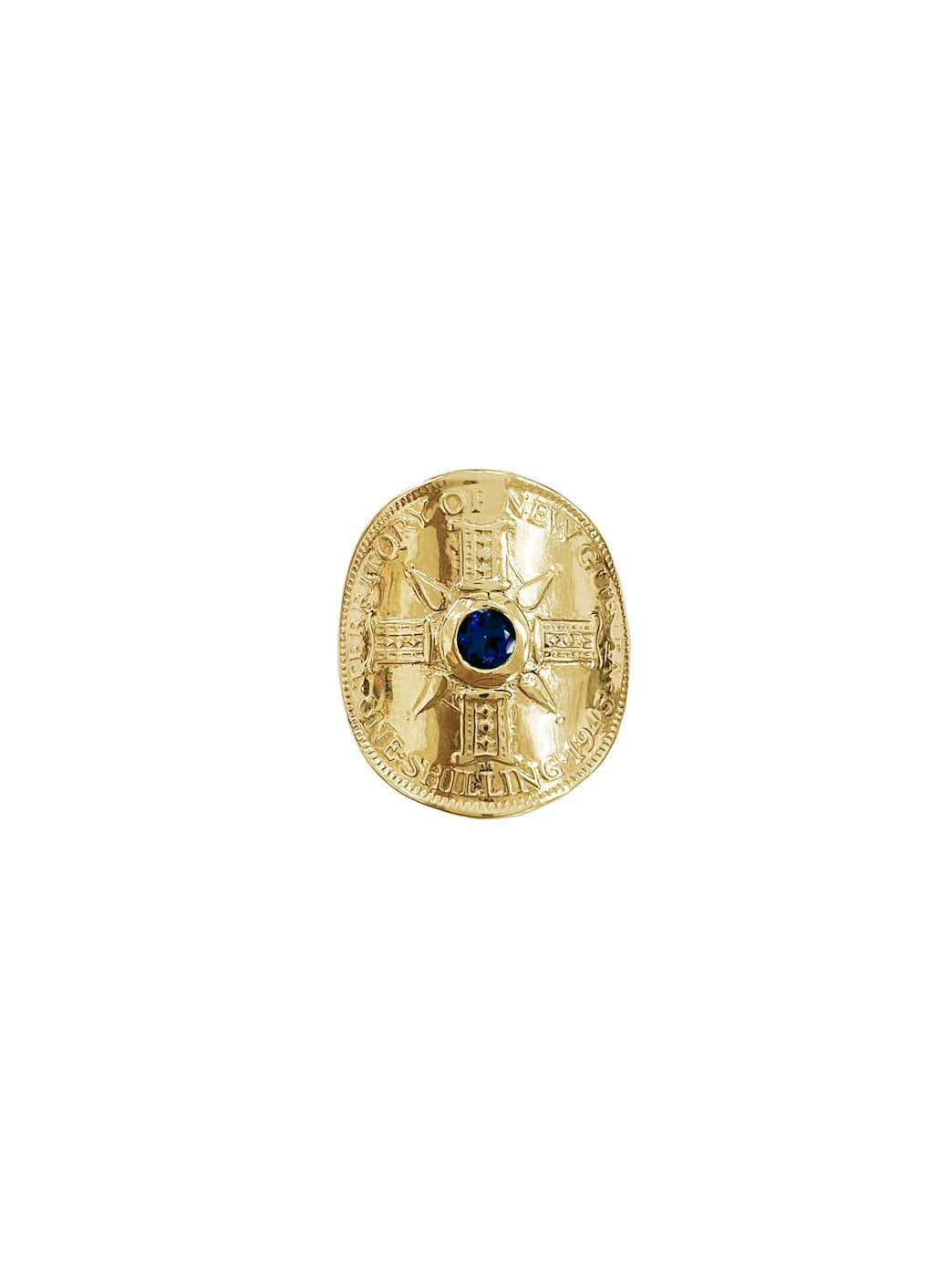 Fiorina Jewellery Gold PNG Bent Coin Ring Blue Sapphire