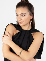 Saint Liberus Cross Earrings Model