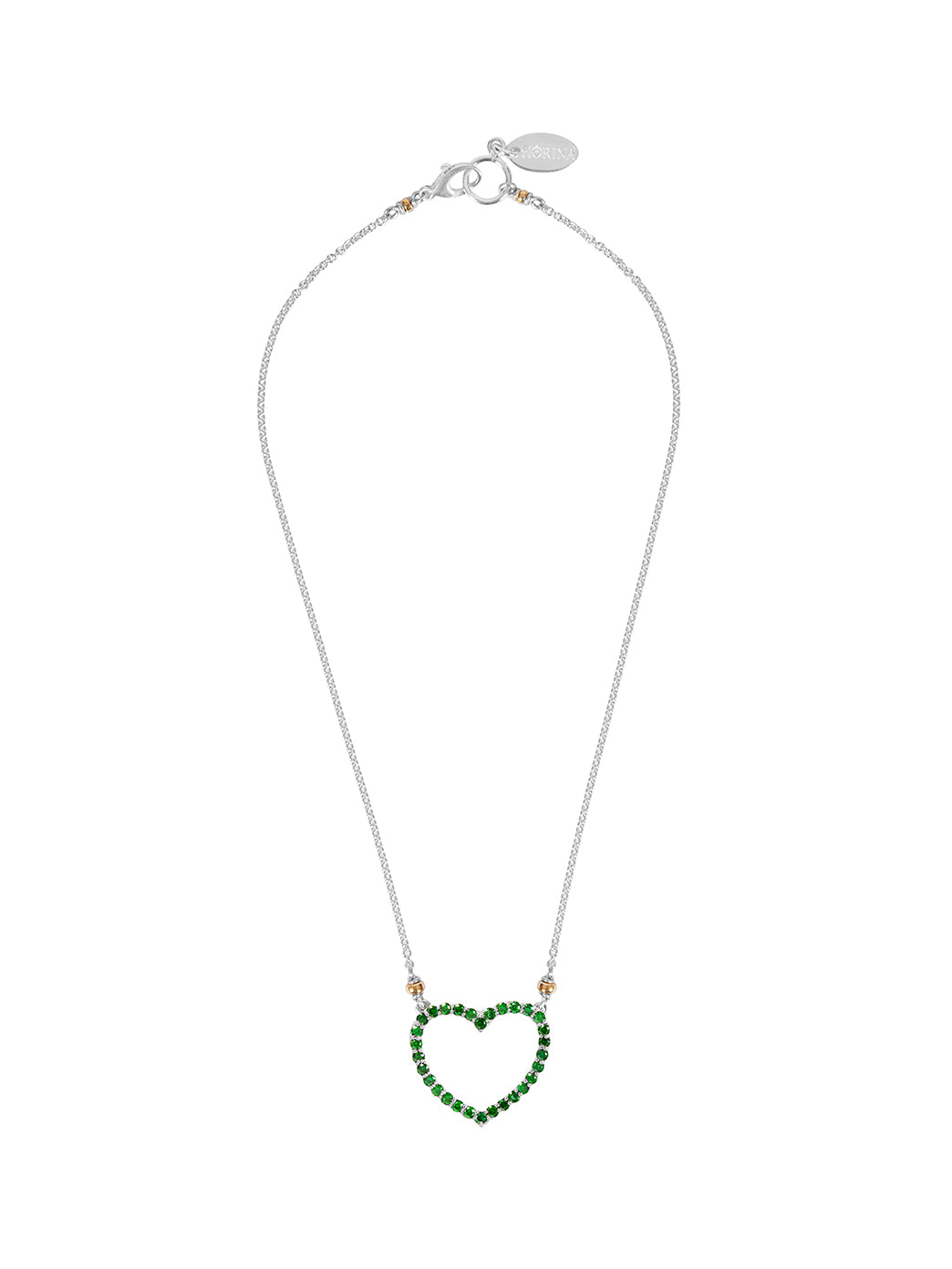 Fiorina Jewellery Heart Love Necklace Emerald