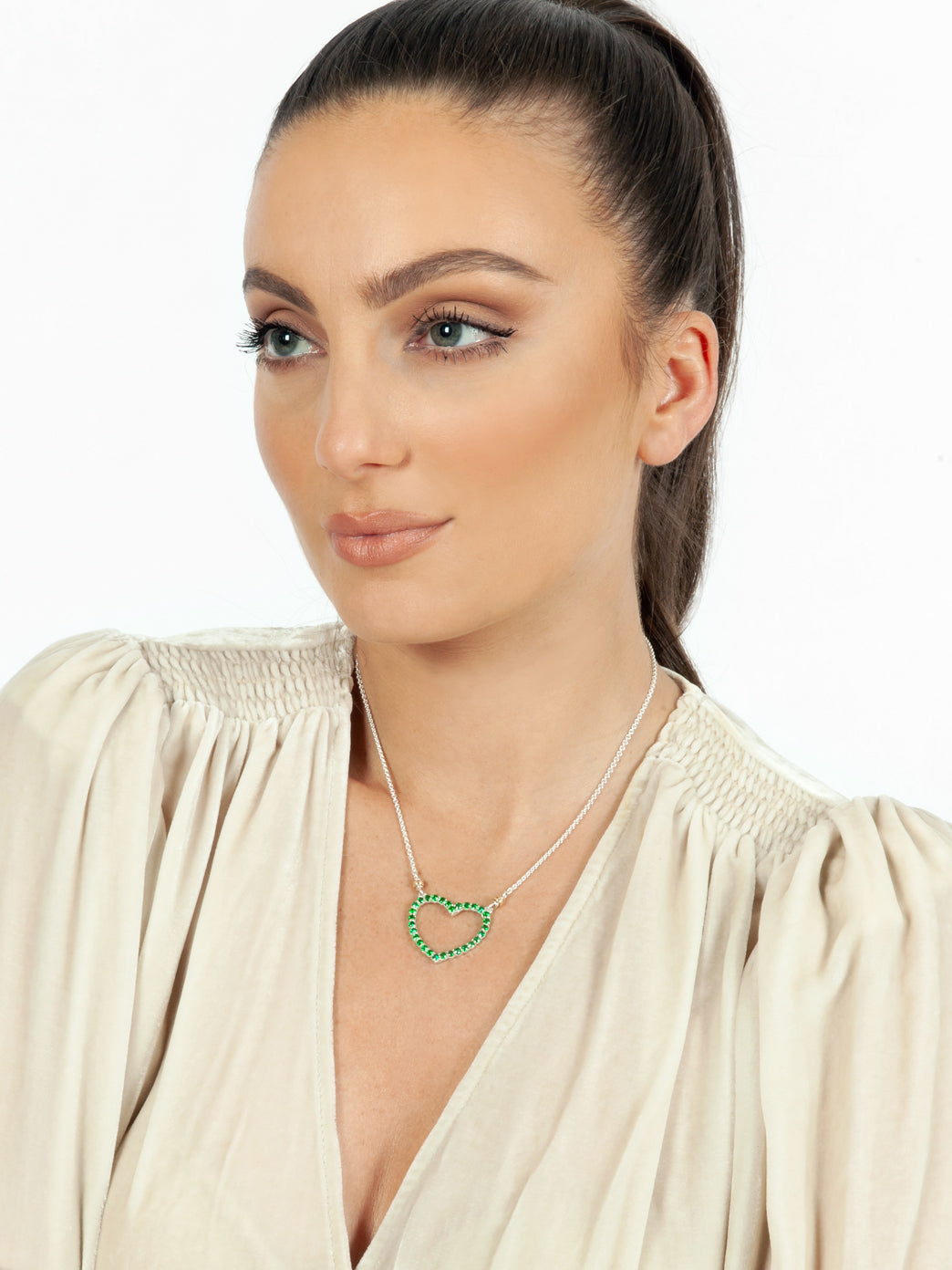 Fiorina Jewellery Heart Love Necklace Emerald Model