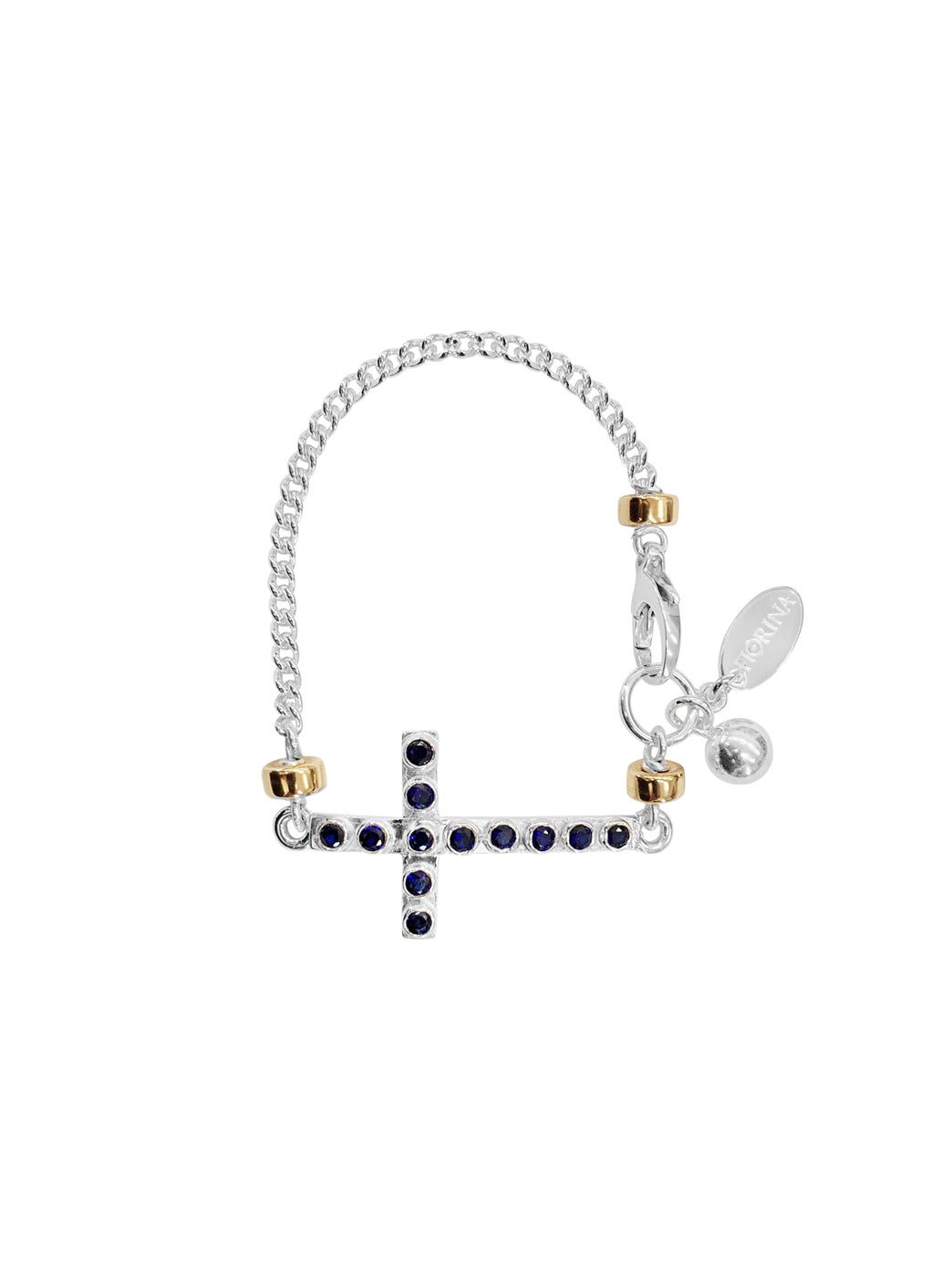 Fiorina Jewellery La Vie Side Cross Bracelet Blue Sapphire