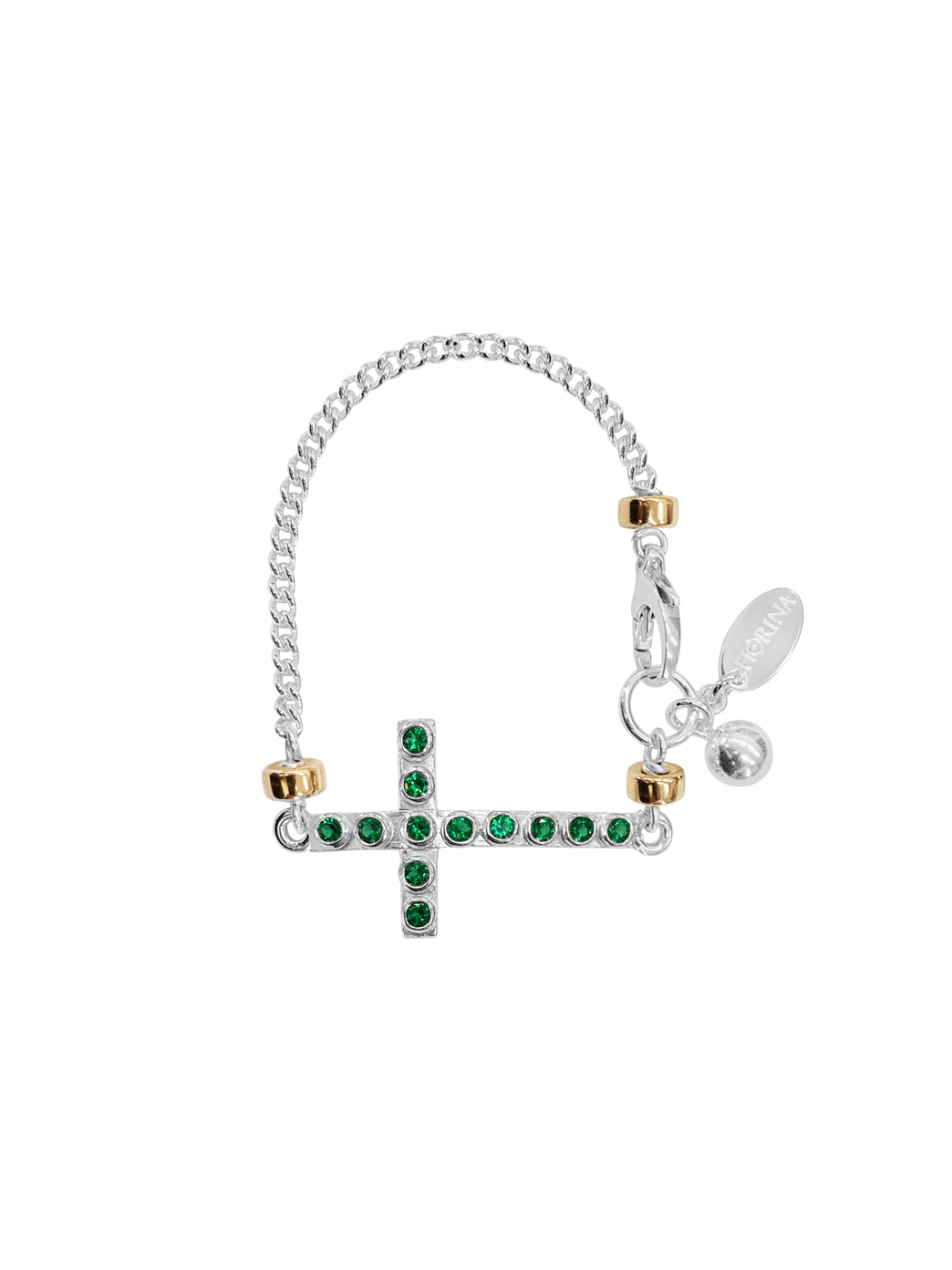 Fiorina Jewellery La Vie Side Cross Bracelet Emerald