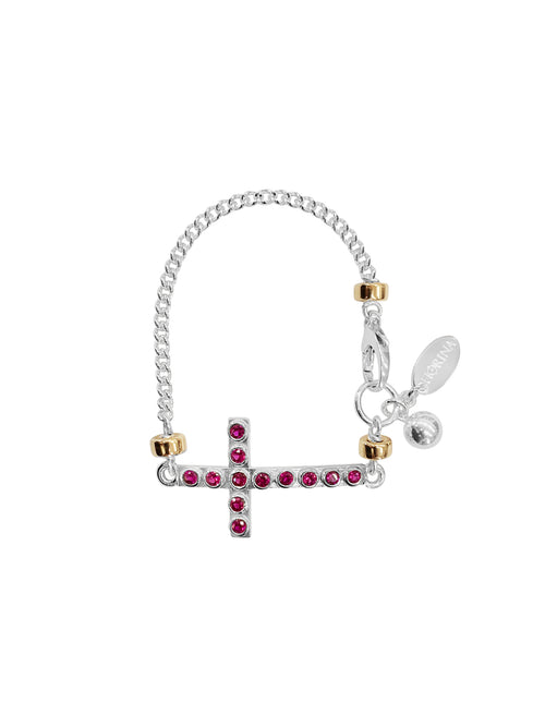 Fiorina Jewellery La Vie Side Cross Bracelet Ruby