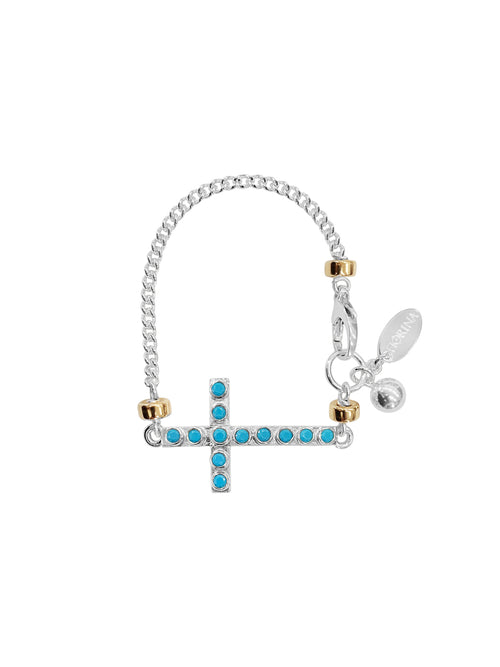Fiorina Jewellery La Vie Side Cross Bracelet Turquoise
