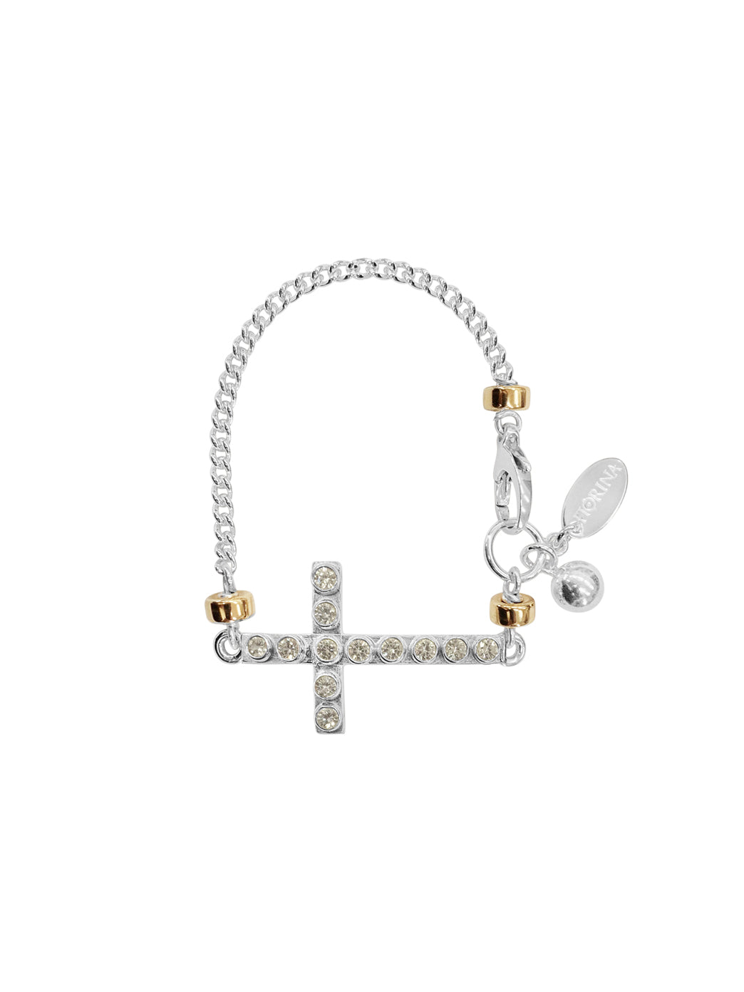 Fiorina Jewellery La Vie Side Cross Bracelet White Spinel