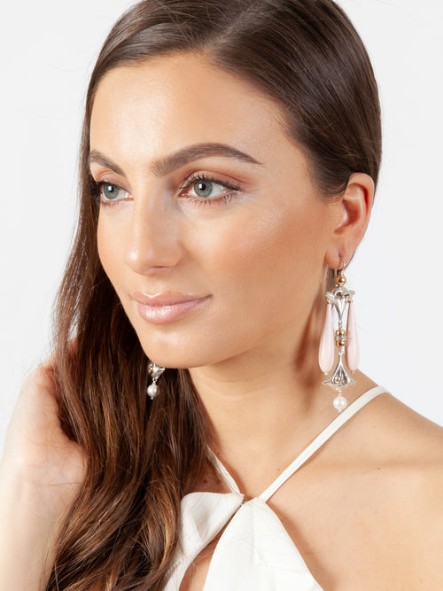 Fiorina Jewellery Lumiere Drop Earrings Pink Shell Model