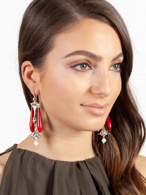 Fiorina Jewellery Lumiere Drop Earrings Red Coral Model