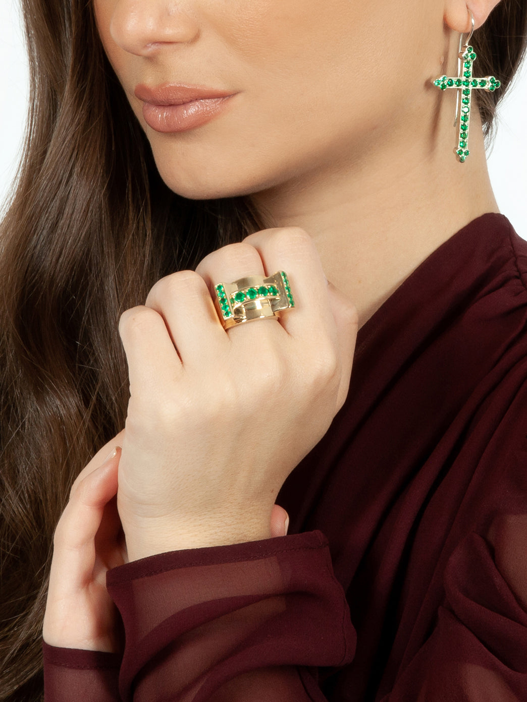 Fiorina Jewellery Martini Ring Emerald Top View