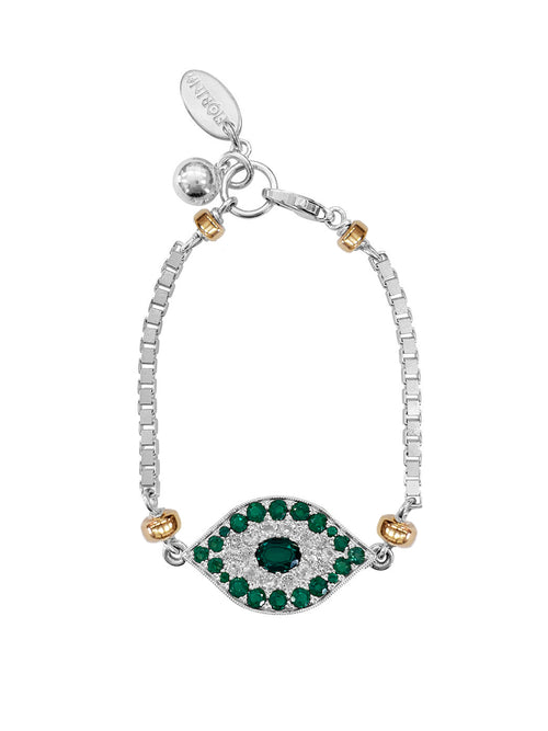 Fiorina Jewellery Oracle Eye Bracelet Emerald and White Sapphire