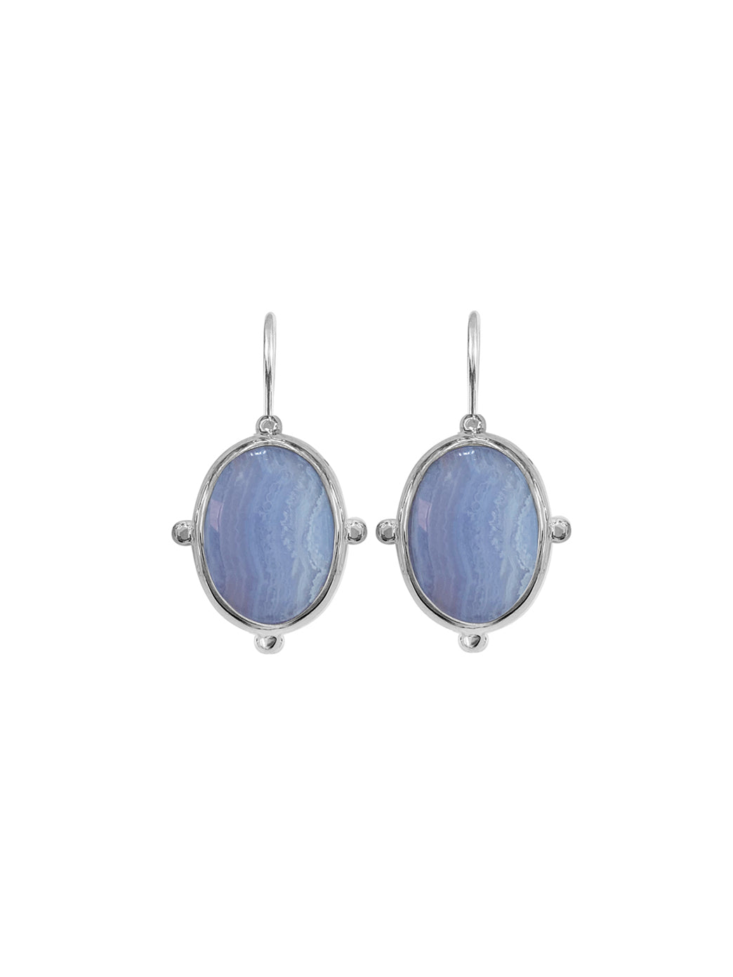 Fiorina Jewellery Oval Button Earrings Chalcedony