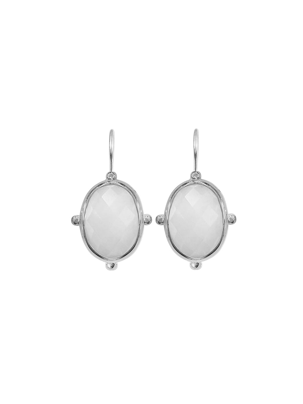 Fiorina Jewellery Oval Button Earrings White Quartzite