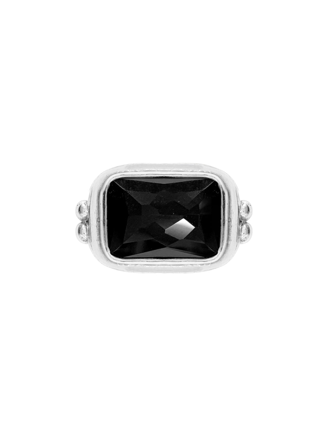Fiorina Jewellery Rectangle Cocktail Ring Black Onyx Top View